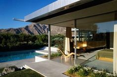Kaufmann House - Neutra  I love the use of stainless and light colored, smooth concrete.
