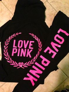 Victorias Secret Love Pink Black Pink Sequin Bling Zip Sweatshirt Hoodie
