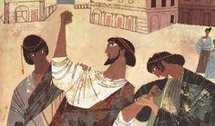 Calcante l'indovino dice ad Agamennone che la dea Artemide e adirata con lui perchè il re ha ucciso la sua cerva sacra; solo offrendo in sacrificio sua figlia Ifigenia la dea si plachereà
