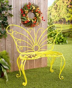 New Butterfly Garden Bench Give your porch or garden a spring-like look all year long with this Butterfly Bench. Add a burst of color to your space. Metal Garden Benches, Metal Patio Furniture, Iron Furniture, Garden Furniture, Furniture Cleaning, Furniture Stores, Furniture Ideas, Garden Art, Garden Design