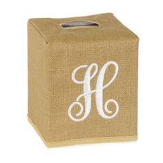 Burlap Monogram H Tissue Holder | Kirklands