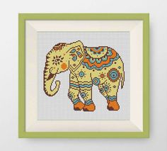 BOGO FREE Indian elephant Cross Stitch Pattern  Counted