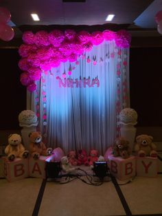 Baby Shower Ideas For Boys Decorations Babyshower Pom Poms 36 Ideas Baby Birthday Decorations, Name Decorations, Baby Shower Decorations For Boys, Birthday Party Planner, 1st Birthday Party For Girls, Baby Boy First Birthday, Naming Ceremony Decoration, Ceremony Backdrop, Ceremony Decorations