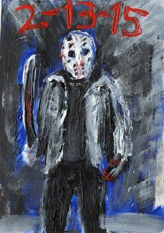 "JASON VOORHEES 2-13-15 , Acrylic original  ,ACEO  jack larson 3.5""x2.5"" #Abstract"