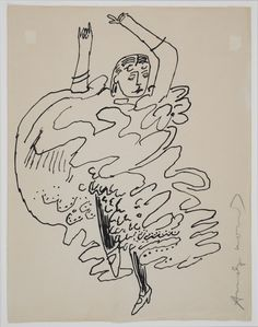"""From exhibition of Warhol, """"Imaginary Friends,"""" drawings inspired by dance from 1955 -67."""