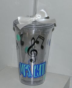 Music Teacher Gift Personalized Tumbler 16 ounce Any Color Combination by dreamingdandelions on Etsy Music Teacher Gifts, Teacher Christmas Gifts, Teacher Appreciation Gifts, Christmas Decor, Personalized Tumblers, Personalized Gifts, Vinyl Tumblers, Piano Gifts, Teacher Gift Baskets