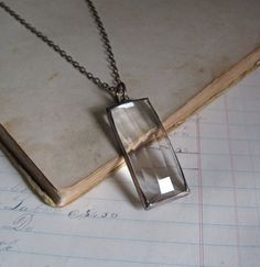 Faceted Stained Glass Long Necklace Soldered Jewelry