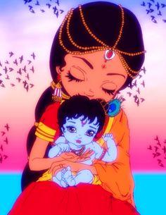 Maa Yashodha with Bal Gopal. Bal Hanuman, Bal Krishna, Radha Krishna Love, Lord Krishna Images, Radha Krishna Pictures, Krishna Photos, Hindus, Little Krishna, Cute Krishna
