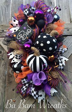 Halloween Swag Halloween Wreath Pumpkin Wreath by BaBamWreaths