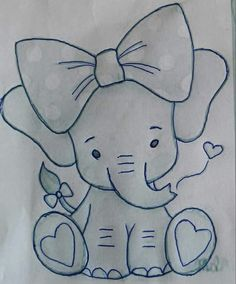 Little Toy Elephant pattern. Photos of the finished elephant is xoxograndma. Art Drawings For Kids, Art Drawings Sketches Simple, Pencil Art Drawings, Disney Drawings, Easy Drawings, Drawing Drawing, Drawing Ideas, Baby Embroidery, Embroidery Patterns