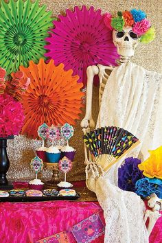colorful halloween skull and skeleton decorations