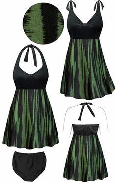 Customizable Lagoon Abstract Print Halter or Shoulder Strap 2pc Plus Size Swimsuit/SwimDress 0x 1x 2x 3x 4x 5x 6x 7x 8x 9x