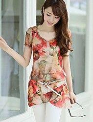 Women's Floral Print Asym Hem Chiffon Long Blouse – USD $ 9.50