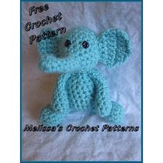 Eli the Tiny Elephant is the 5th animal to join the Tiny Animals Collection. This is a FREE 4 page pdf pattern, you can also see a photo tutorial of how I sewed the pieces together on my blog [Eli the Tiny Elephant - Picture Tutorial - Sewing the pieces together.][1]Eli measures approx. 6 inches laying flat and 4 inches sitting up.You will need… Yarn Color A (Red Heart Super Saver Solids in Aruba Sea) Fiberfill Stuffing Yarn Needle Size D 3.25mm or desired crochet hook Black puffy fabric…