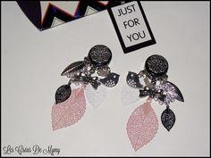 Boucles D'oreilles a Clips Pampille et filigrane légères,quartz rose,noir ,oisea