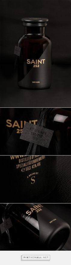 SAINT 252 gin packaging designed by Studio Schoch - http://www.packagingoftheworld.com/2015/08/saint-252.html