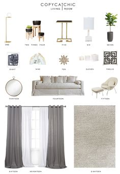 Copy Cat Chic living room inspiration for my new home. Neutral creamy whites combined with grays. Lots of texture and a hint of gold and brass. Budget decor