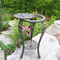 Oakland Living Grape Table & Stand - Antique Pewter