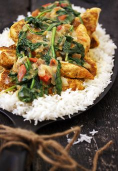Brazilian Chicken Curry with Spinach - one-pan and about 30 minutes to a delicious meal!