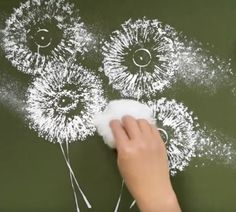 DIY Painting Ideas - Dandelion painting on poster board with toilet paper rolls - Cheap Kids Crafts Dandelion Painting, Diy Painting, Art Floral, Toilet Paper Roll Crafts, Paper Crafts, Art For Kids, Crafts For Kids, Quilling Paper Craft, Diy Canvas Art