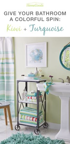 Turquoise + kiwi are a fresh combination in this summer bathroom. The industrial cart adds personality and storage for key beauty items. Put your unexpected spin on home with unique finds in store.