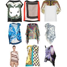 Tops Inspirations on what to make with your Scarfs - Silk print tops begging to be DIYed by inspiration-realisation on Polyvore