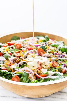 Mediterranean Salad with Hummus Dressing | Get Inspired Everyday!