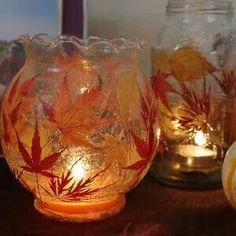 Modge podge fall leaves onto old glassware :)
