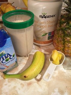 Piña Colada Shake, anyone?? 2 scoops Vanilla Isalean Shake and add  1/2 banana,1/4 cup pineapple chunks, 330 ml pure coconut water. Blend all together in blender and VOILÀ, tropical shake!! *ingredients adds an extra 130 cal.