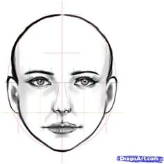 Face drawing tutorial- the fashion face is longer and thinner than this but you can see that the eyes are half way between top of the head and the chin.