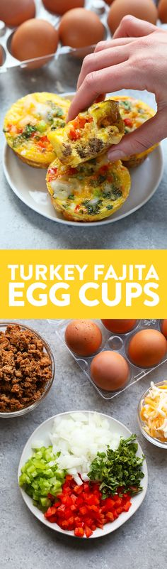 These Turkey Fajita Egg Cups are made with lean ground turkey colorful green and red peppers onions and your favorite fajita spices! Dont forget about the cheese on top. Whip up a batch of these egg cups for a healthy meal prep breakfast option! Healthy Meal Prep, Healthy Breakfast Recipes, Clean Eating Recipes, Brunch Recipes, Healthy Snacks, Cooking Recipes, Healthy Recipes, Breakfast Ideas, Healthy Eating