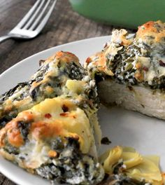 Our spinach artichoke chicken is a super fast dinner that comes together in practically no time with canned artichokes and frozen spinach. - Everyday Dishes & DIY