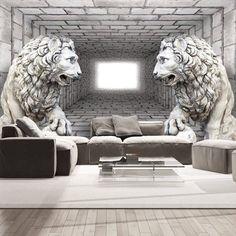 Artgeist Wallpaper Stone Lions (Decoration , Wall murals , Wall m Art Mural 3d, 3d Wall Murals, Graffiti Murals, 3d Wall Art, 3d Wallpaper Panels, 3d Wallpaper For Walls, Photo Wallpaper, 3d Wanddekor, Foto 3d