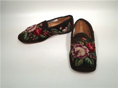 Pair of man's slippers American Date:c. 1860 Media:Wool, canvas, and leather Wadsworth Atheneum Art Museum: Hartford, CT Body Adornment, Mens Slippers, Gucci, Footwear, Pairs, Flats, American, Wool, Leather