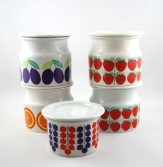 ~ Arabia Finland - vintage Pomona jam jars ~