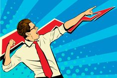 Business success businessman showing the top of the chart and screaming with joy. White adult male Caucasian - Buy this stock illustration and explore similar illustrations at Adobe Stock Art Pop, Fiesta Pop Art, Balloon Logo, Retro Pop, Retro Style, Desenho Pop Art, Pop Art Wallpaper, Hipster Logo, Modern Business Cards