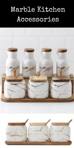 Perfect for stylish modern kitchen! Kitchen Jars, Kitchen Items, Kitchen Utensils, Kitchen Decor, Gold Home Accessories, Kitchen Accessories, Small American Kitchens, Granite Kitchen Counters, Kitchen Trends