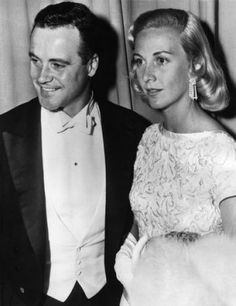 1956: Actor Jack Lemmon (1925 - 2001) and his wife Cynthia Stone (1926 - 1988) arriving at the Panta