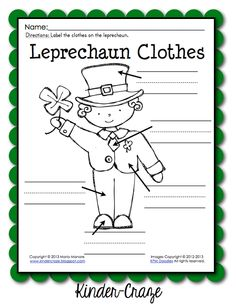 FREE leprechaun labeling page from Kinder-Craze.search the room for the words Kindergarten Blogs, Kindergarten Writing, Literacy, Teacher Freebies, Classroom Freebies, Classroom Ideas, St Patricks Day Clothing, Thinking Maps, School Holidays