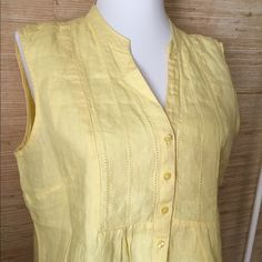 Linen Sleeveless Summer Top - Like New! Very pretty buttery yellow linen top, in like new condition! Top quality LL Bean. L.L. Bean Tops