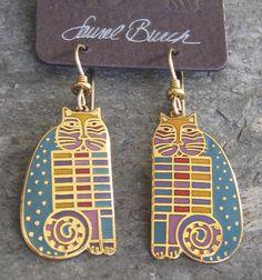 """Laurel Burch VINTAGE 1986 """"RAINBOW CAT COUSINS"""" Cloisonne Earrings #LaurelBurch"""