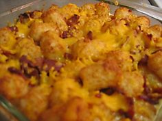 BACON CHEDDAR TOT CASSEROLE: 1 pound of chicken breast, cut into chunks and browned 1/2 pound of bacon, fried and crumbled (or precooked real bacon pieces) 2 pounds of frozen tater tots 2 cups of broccoli, cooked 2 cups of cheddar chese (or your favorite cheese), shredded 1 can of cream of chicken soup 1 cup of sour cream 1/2 cup of milk 1/4 teaspoon of pepper 1 teaspoon of garlic powder 1 teaspoon of onion powder Preheat oven to 350 degrees F. Combine the soup, sour cream, pepper, garlic…