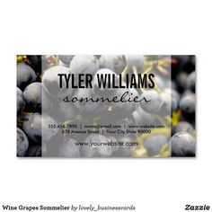 Wine Grapes Sommelier Business Card Magnet