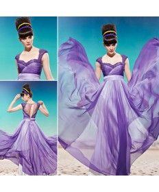 Gradient Purple Lace Net Square Neck Trumpet/Column Elegant Prom Dress