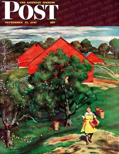 Apple Picking Time by John Falter, Sept. 27, 1947, The Saturday Evening Post.