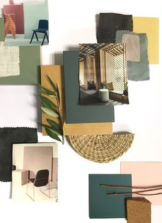 Which are your summer colors of choice on a mood baord? Greens and corn combined with linen, raffia, and an olive branch - the perfect Mediterranean feel. #moodboardacademy #moodboard