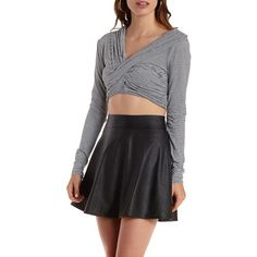 Charlotte Russe Black/White Long Sleeve Ruched Wrap Crop Top by... ($9.99) ❤ liked on Polyvore featuring tops, black white stripe top, crop top, long sleeve tops, striped crop top and criss cross crop top