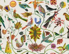 Rohleder Home Collection by Olaf Hajek Textilkunst Jacquard-Weberei Olaf, Forest Mural, Magnum Opus, Bird Tree, Artist Painting, Home Collections, Folk Art, Print Design, Print Patterns