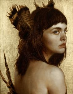 the paintings and artwork of brad kunkle. gold leaf artist and painter brad kunkle. Adara Sanchez, Brad Kunkle, Feuille D'or, Gold Leaf Art, Painted Leaves, Figure Painting, Painting People, Painting Inspiration, Portrait Inspiration