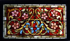 """Floral Antique American Stained Glass Window, 39.5"""" x 23""""  fid13045"""
